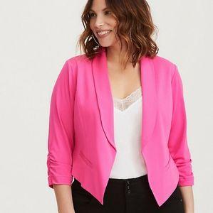 TORRID Pink Ruched Crepe Blazer